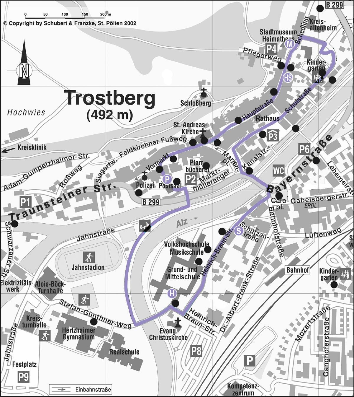 Lageplan Kunstmeile Trostberg 2021