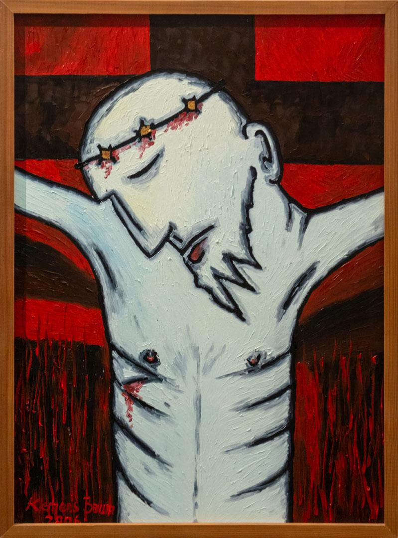 Klemens Gerard Baum: Jesus am Kreuz   Ölfarbe auf Holzplatte, Blattgold; 77 x 57 cm; 1.000,00 €   * 1960 in Freising; seit 2004 viele Holzschnitte, Beschäftigung mit Blattgold auf Öl; zahlreiche Ausstellungen; Ölmalerei (Schwerpunkte Expressionismus/kubischer Impressionismus), Holzschnitte, Mischtechniken, grafische Arbeiten, Blattgold, Holzskulpturen