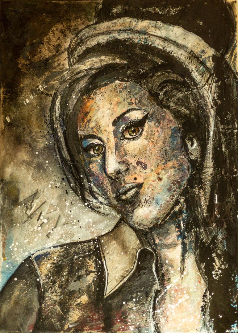 Silke von Clarmann: Amy  Mixed Media; 140 x 100 cm; 1.450,00 €   geboren in München; Studium der Kunstgeschichte in Augsburg; danach BWL in München und Ulm; lebt und arbeitet in Erharting
