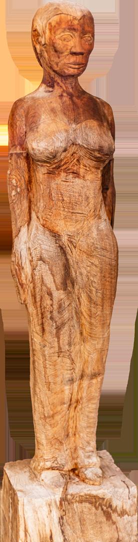 Andreas Eckenberger: Black Lady   Holz, Motorsäge, Stechbeitel; 110 x 20 x 16 cm; 835,00 €   * 1979 in Trostberg; 1990 erste Schnitz- und Schreinerarbeiten; 1998 naturalistische und abstrakte Arbeiten in Holz, Beginn mit Instrumentenbau; 1999 Arbeiten mit Natursteinen und Landschaftsgestaltung; 2002-2005 Besuch der Berufsfachschule für Holzbildhauerei; seit 2005 selbständig tätig als Holzbildhauer; lebt in Tacherting