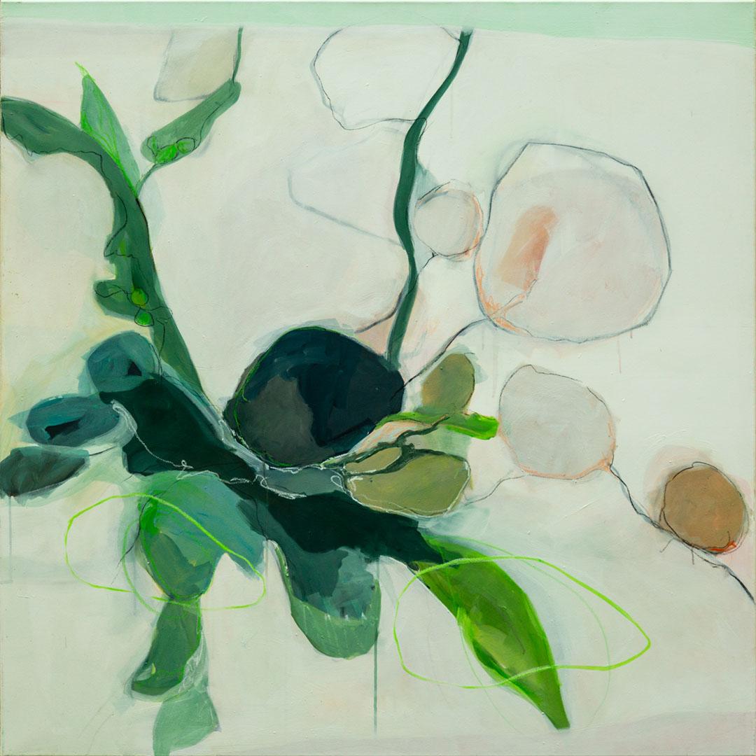 Isa Jungblut Isa: floral | Acryl auf Leinwand120 x 120 cm1.600,00 €; 1964 geboren in Neuwied/Rhein; Studium Gemälderestaurierung in Florenz; lebt seit 2000 in Bayern
