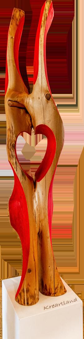 Leonhard Krebs: Langsam wachsma zam | Holz geschnitzt; 140 x 40 x 40 cm; 2.200,00 € | * 1950 in Oedheim; Modellbaumeister, Umweltpädagoge, Lehrer an der Berufsschule; seit den 1990er-Jahren Bildhauerei; erste Ausstellungen mit Holzobjekten – figürlich und abstrakte Arbeiten; intensive Auseinandersetzung mit LandArt; lebt in Edling