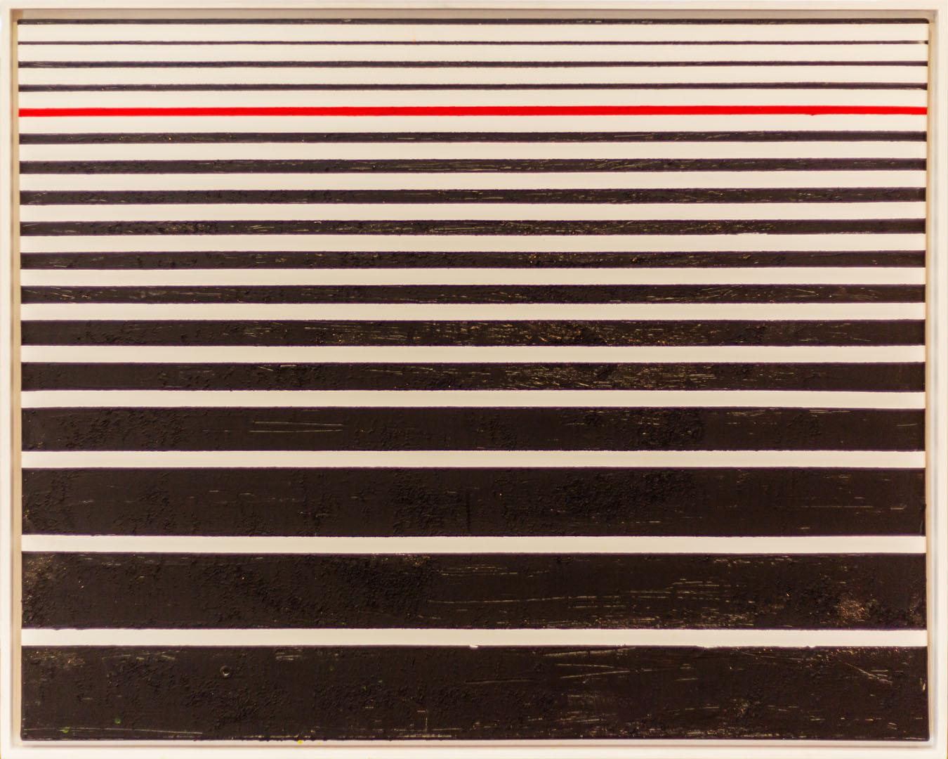 Andreas Lorenz: Red Borderline | Acryl; 100 x 80 cm; 500,00 € | *1962 in Burghausen; 1980 erster Zeichenkurs; Arbeiten in Bleistift, Tusche, Aquarell und Acryl; 1997 erste gemeinsame Ausstellung mit Werner Pink; realistische Arbeiten mit Aquarell- und Acrylfarbe werden immer mehr von Bildwerken mit Gebrauchsgegenständen und Farbaufträgen abgelöst; lebt in Traunreut