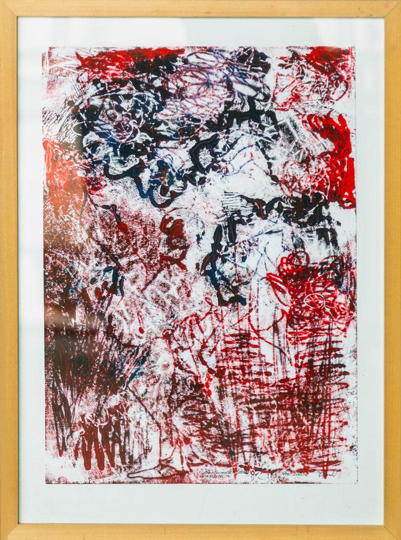 Johann Plank: aus Linien geformt aber kein Verschwörungsmythos | Abdruck von Holzplatten E.A.; 60 x 42 cm; 600,00 € | * 1955 in Engelsberg; Kurse in Aquarellmalerei, Aktzeichnen, Acryl-Malerei, Grafik (Lithographie, Holzschnitt, Radierung); zahlreiche Ausstellungen; lebt in Garching/Alz